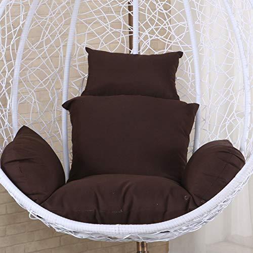 FCXBQ Hamaca colgante con forma de huevo, cojines gruesos antideslizantes y suaves, lavables para colgar en la parte trasera de la silla con almohada, marrón 100 cm
