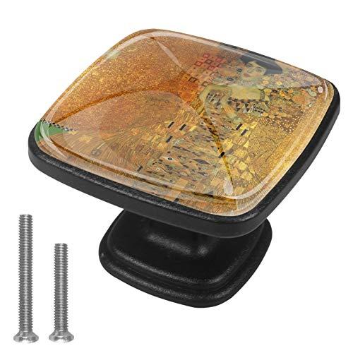 Gustav Klimt Schrankknäufe für Küchenschrank, Badezimmer, Kommode, quadratisch, 30 mm, 4 Stück