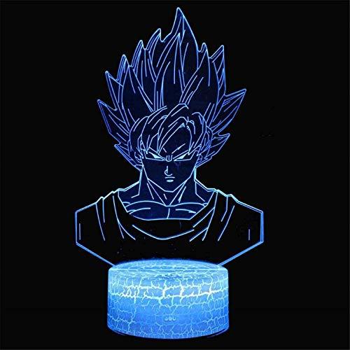 Lámpara de mesa de ilusión 3D, 16 colores cambiantes luz nocturna con control remoto, regalo de cumpleaños para niños Dragon Ball Z
