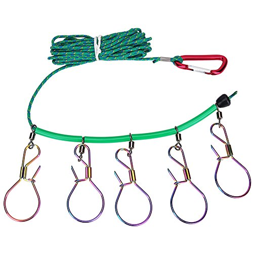 Zerone 16FT Stainless Steel Heavy Duty Fish Stringer Lock with 5 Buckles...