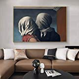 Arte famoso el amante del beso de Rene Magritte lienzo pintura carteles e impresiones surrealismo cuadros de arte de pared clásicos, para decoración del hogar Sin marco