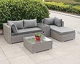BJYX gartenlounge Lounge Sitzgruppe Garnitur Gartenmöbel 4 P. Sofa Hocker Tisch