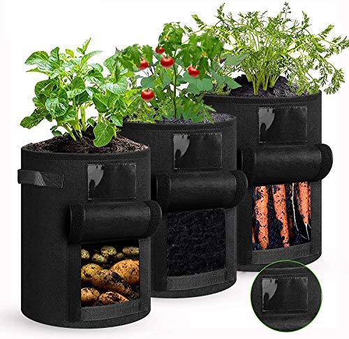 shengda wei 3 Stück Kartoffel Pflanzsack, 7 Gallonen Pflanzen Tasche mit Griffen, Blumen Pflanzbeutel, Große Gemüse Pflanzgefäße Töpfe Container für Garten Kindergarten Pflanzen,Wiederverwendbar