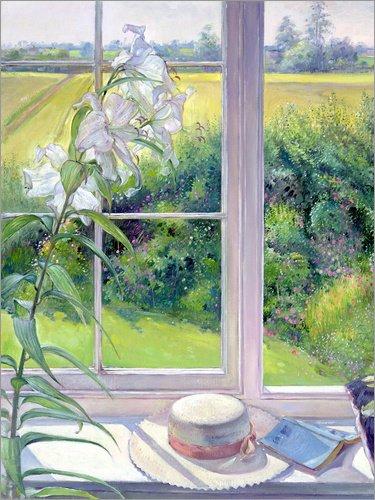 Leinwandbild 50 x 70 cm: Leseecke im Fenster, Detail von Timothy Easton/Bridgeman Images - fertiges Wandbild, Bild auf Keilrahmen, Fertigbild auf echter Leinwand, Leinwanddruck