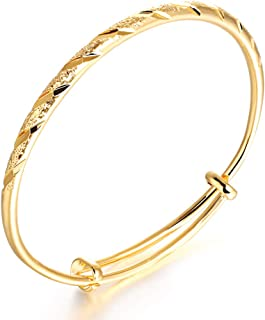 OPK Bangle Bracelets for Women Fashion Classical 18k Gold Plating Copper Jewelry Gifts for Ladies