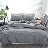 INGALIK Bedding 2 Piece Duvet Cover Set Twin Size with Zipper Closure Ultra Soft Breathable 100% Washed Microfiber Hotel Luxury Solid Color Collection 2pc (1 Duvet Cover + 1 Pillow Shams) Light Grey