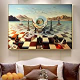 Salvador Dali Surrealism Chess Mask On Sea Canvas Prints Painting On Wall Art Abstract Weird Posters Picture Home Decor/60x80cm-No Frame
