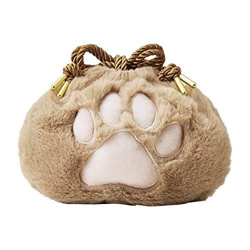 Sac à main en peluche avec patte de chat - Sac à main en peluche - Sac à cosmétiques portable avec cordon de serrage - Pour filles et femmes