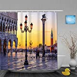 Shower Curtain for Home Decor,Night view of piazza San Marco, Doge's Palace (Palazzo Ducale) in Venice, Ita,Fabric Bathroom Curtain Durable Waterproof Bath Curtains Sets with 12 Hooks,72 x 72 inches