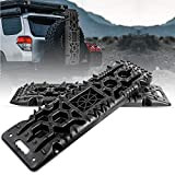 FieryRed Traction Boards with Jack Lift Base - 2 Pcs Traction Mat Recovery for Sand Mud Snow Track Tire Ladder 4X4 - Traction Tracks, Size: 42.57 inch (L) x 12.4 inch (W) X 2.6 inch (H), Black