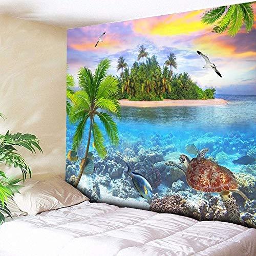 WERT Tapiz de Bosque psicodélico mar árbol de Coco Colgante de Pared Tapiz de Playa 3D Gran Tapiz de Pared Boho Tapiz para el hogar A8 180x200cm