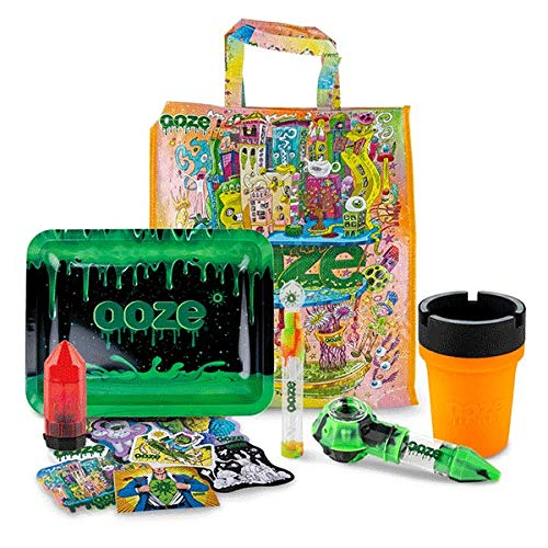 Ooze Life Assorted Grab Bag Bundle - Ooze Gift Set - Medium Rolling Tray, Bowser, Stickers, Grinder, Roadie Ashtray, Sliderr (Large) - Rolling Tray Bundle