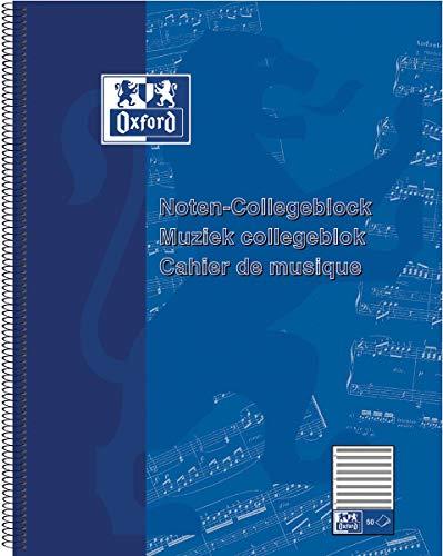 Oxford 384405014/100050345 Noten-Collegeblock DIN A4+, Lineatur 14, 50 Blatt
