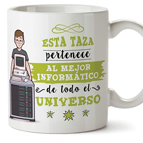 MUGFFINS Informático Tazas Originales de café y Desayuno para Regalar a Trabajadores Profesionales - Esta Taza Pertenece al Mejor Informático del Universo - Cerámica 350 ml