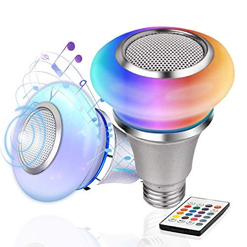 TACAHE Music Light Bulb with Bluetooth Speaker - RGB Color Changing and Warm White - Dimmable LED Bulb with Remote - 8W, 300 Lumen, E26 Base, 2 Pack
