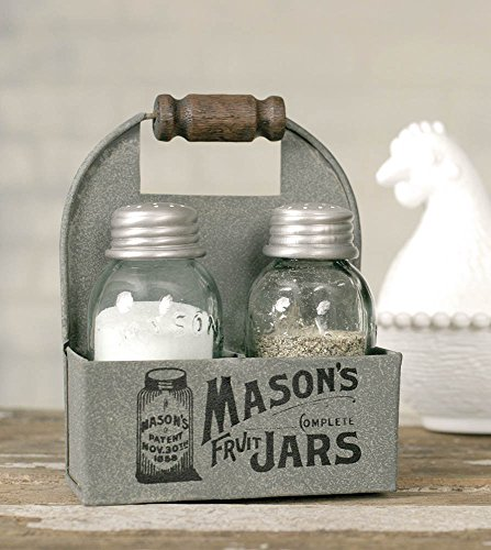 1 X Mason's Jars Box Salt and Pepper Caddy with Wood Handle by Colonial Tin Works