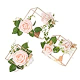 Ling's moment Set of 3 Gold Geometric Wedding Centerpieces Ornaments Blush Rose Flower Tab...