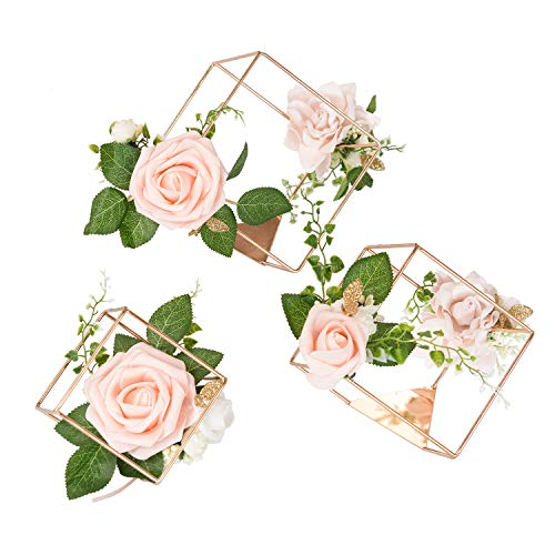 Ling's moment Set of 3 Gold Geometric Rustic Wedding Centerpieces Ornaments Blush Rose Flower Table Simple Centerpieces for Wedding Party Decor
