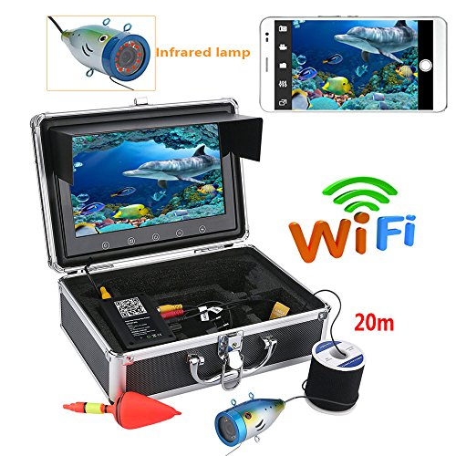 MAOTEWANG Fish Finder Underwater Fishing Camera System Kit Video Recording Edition DVR9 Monitor LCD HD 1000TVL IP68 20m Cable 4500mAh Rechargeable Battery Night Version for Ice,Lake and Boat Fishing