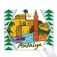 トルコアンタルヤブルドゥルの水彩画 オフィスグリーン松のゴムマウスパッド