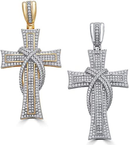Solid 925 Sterling Silver Iced Out Cross Pendant Men s Large Fits Up to 8mm Chains Gold Finish product image