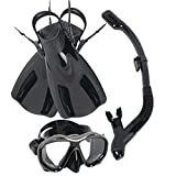 mtsugar Snorkel Short Fin Mask Set with Dry Snorkeling Gear Bag and Choose
