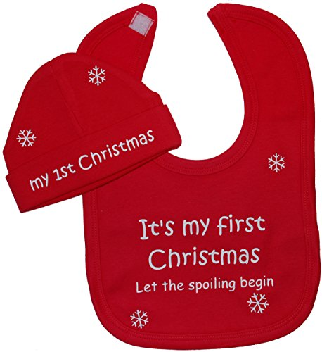 Ensemble bavoir et bonnet bébé 0 à 12 mois - « It's My First Christmas Let The Spoiling Begin » - rouge - XXS