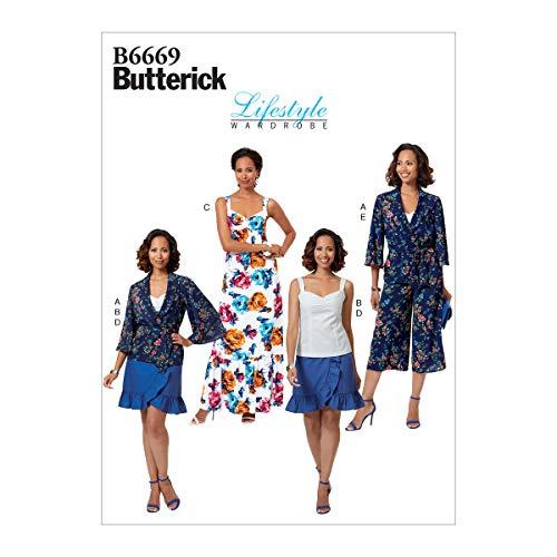 Butterick B6669E5 Schnittmuster für Damen, Jacke, Schärpe, Krawatte, Kleid, Hose und Rock, Gr. 42-50
