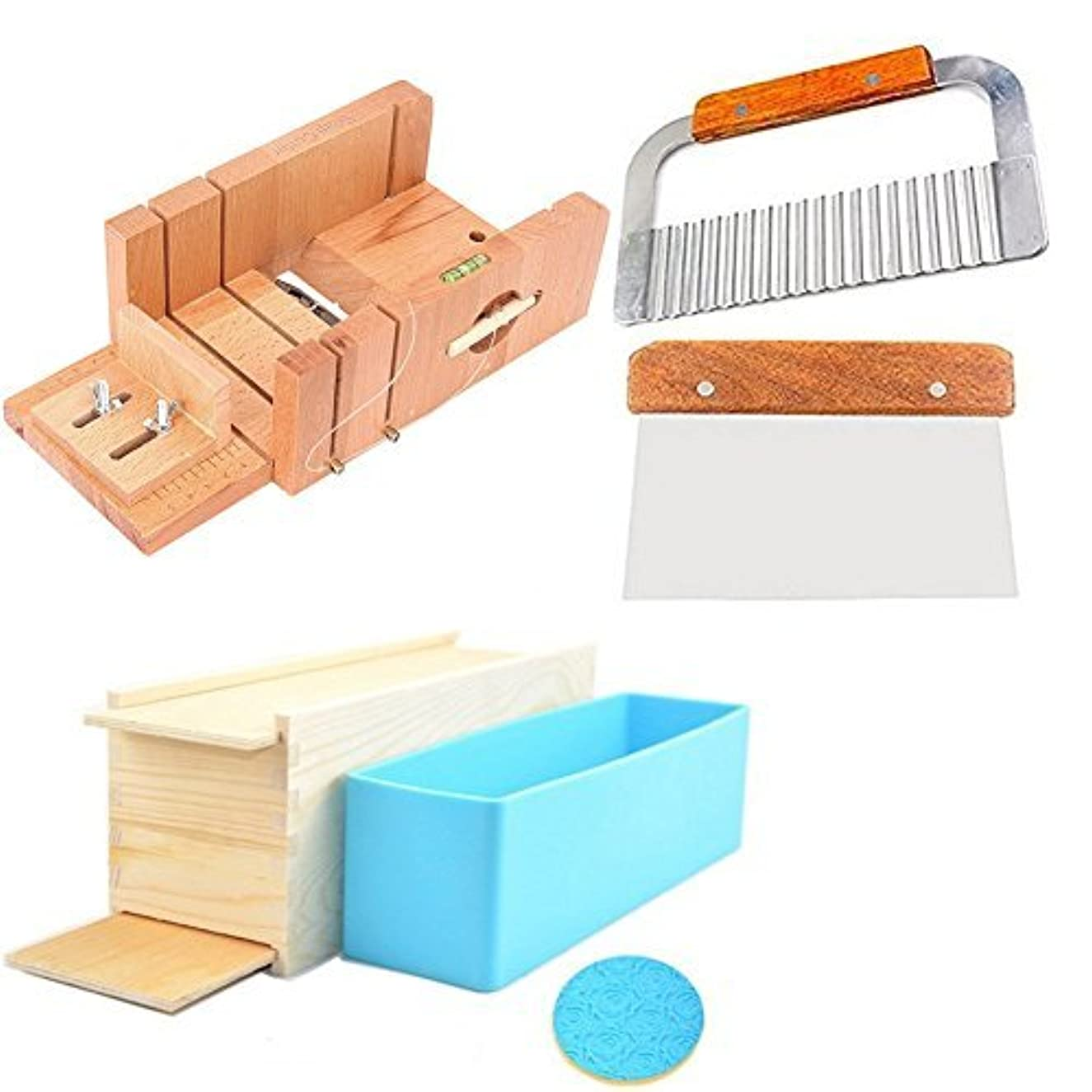 6MILES 2 Pcs Stainless Steel Straight Wavy DIY Making Loaf Garnish Cake Soap Cutter + 1 Pcs Newest Wood Box with Line Wire Tool Peelers Slicers Knife Set +1 Pcs Newest Rose Silicone Mold with Box