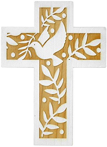 Kaltner Präsente Geschenkidee - 24 cm Wandkreuz Echtes Holz Kreuz aus Fichte Kruzifix mit Taube für die Wand modern gefertigt im Grödner Tal Südtirol
