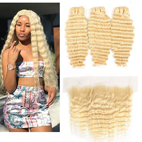 Queen Plus Hair Curly Deep Wave 613 Blonde 3 Bundles with Lace Frontal Closure 13x4 Ear To Ear with Baby Hair Brazilian Deep Wave 613 Blonde with Frontal (20 20 20 with 18)