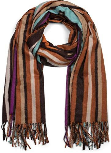 styleBREAKER Unisex Schal mit buntem Streifen Muster und langen Fransen, Colour Blocking, Winter, Stola 01017113, Farbe:Orange-Türkis-Braun