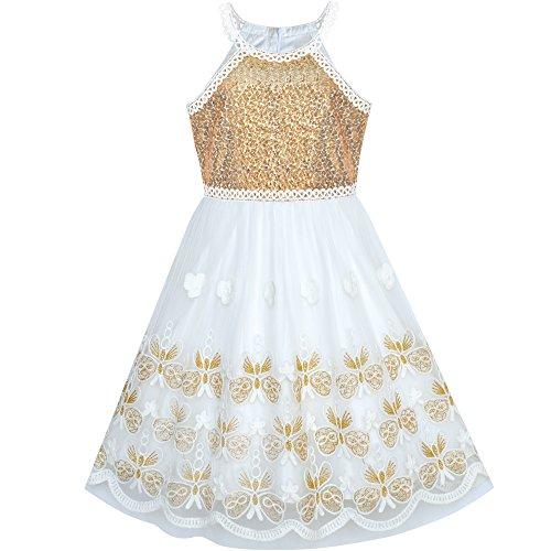 Sunboree Mädchen Kleid Gold Schmetterling bestickte Halfter kleiden Party Schulanfang Osterfest Kleid Karneval Kostüme Gr. 134