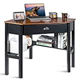POWERSTONE Corner Desk for Small Space - Triangle Computer Desk Corner Writing Desk Corner Makeup Vanity Table with Storage Drawer & Shelf for Home Office, Workstation, Living Room, Bedroom,Coffee