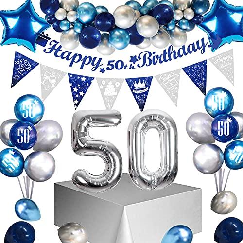 Globos 50 Años Cumpleaños para hombres y niños, Guirnalda Globos Azul Cumpleaños, Feliz Cumpleaños Bandera para Hombres y Mujeres Adultos Decoración de Fiesta
