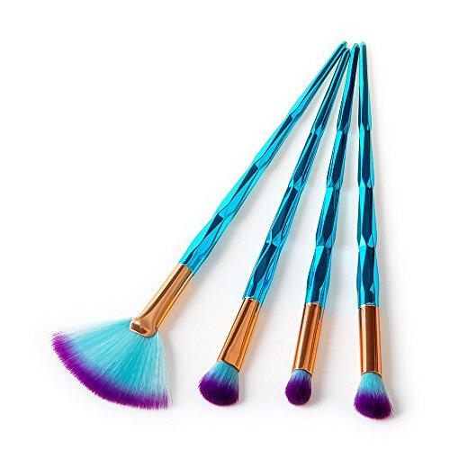 Posional Pinceaux Maquillages Professionnels, 4PCS Set/Kit Multi Fonctionnel Brillant Premium Coloré Makeup Cosmétique pour Liquides, Crèmes, Eyeliner et Fard à Paupières