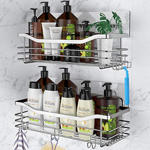Orimade Adhesive Shower Caddy Shelf with 5 Hooks Organizer Storage Rack Wall Mounted Stainless Steel No Drilling for Bathroom Toilet Kitchen  2 Pack