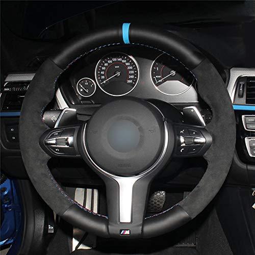 HCDSWSN Schwarzes Veloursleder-Lederlenkrad für BMW F87 M2 F80 M3 F82 M4 M5 F12 F13 M6 X5 M F86 X6 M F33 F30 M Sport