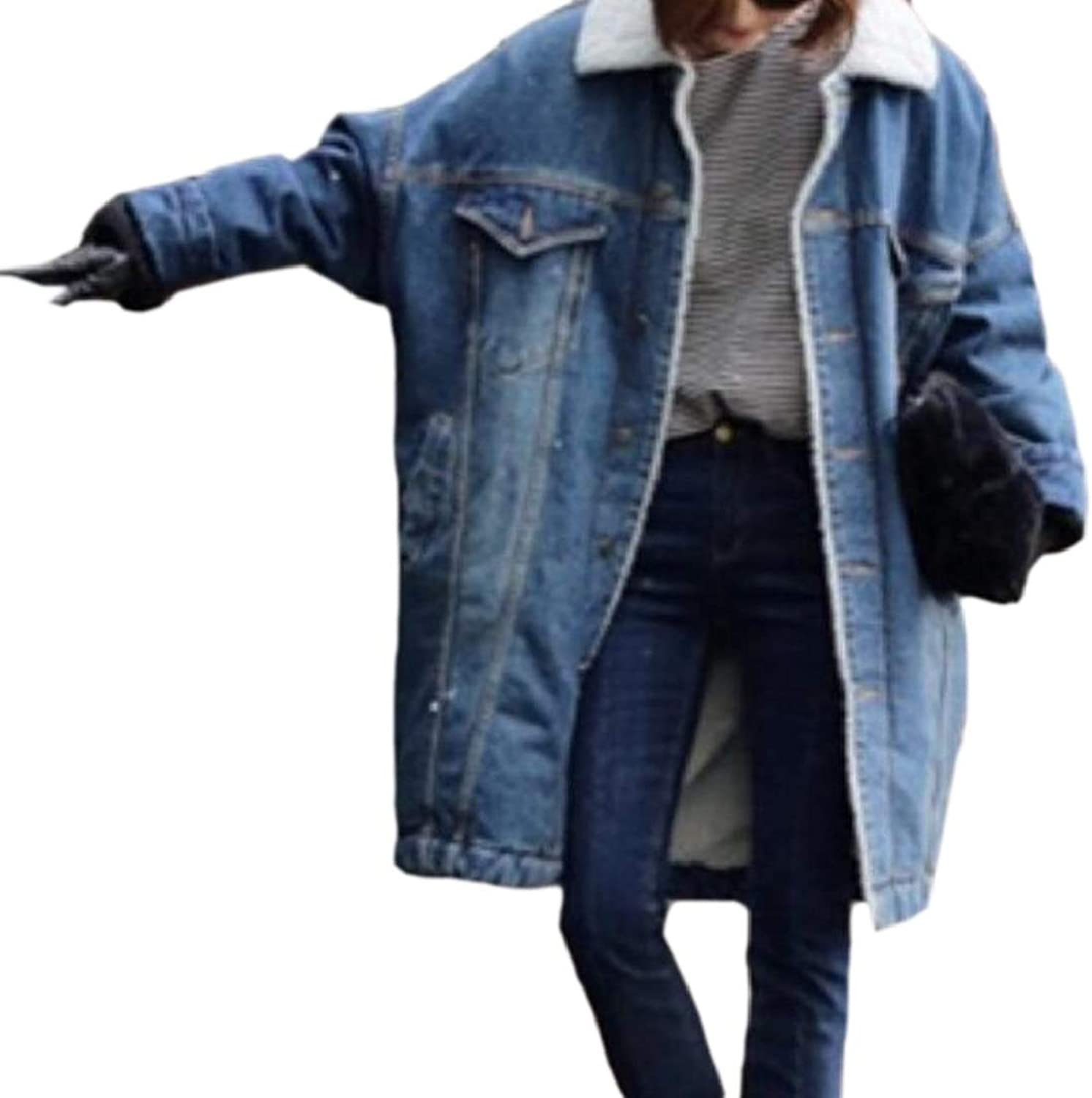QDCACA Women Mid Length Wool Lined Plus Size Thicken Denim Jacket Trench Coat