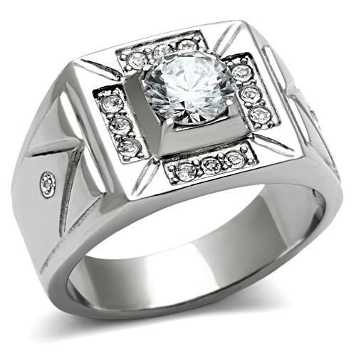 Yourjewellerybox - Anillo con detalle de diamante falso - acero inoxidable, talla 16,5 (18 mm)