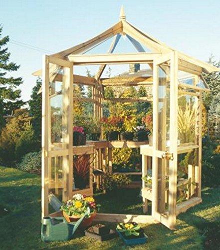 G&C Victorian – sechseckiges Gewächshaus aus Holz – 4mm gehärtetes Glas – Maße: h 300 cm x 240 cm x 208 cm