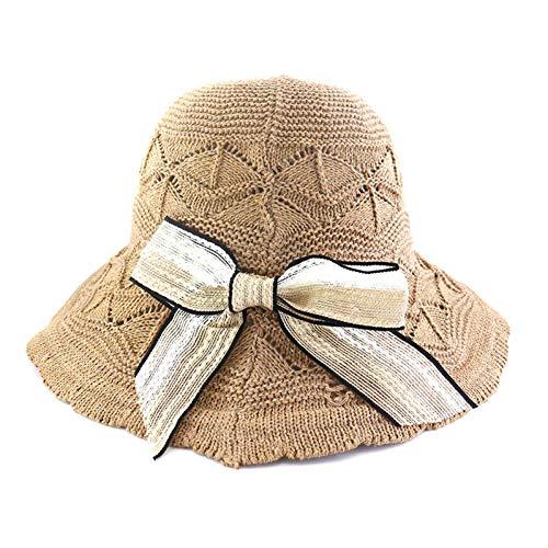 XWHKX Nähen Farbe Bogen Dekoration Strohhut Sonnenhut Damen Casual Wild Beach Hut Tragbare Faltbare Kuppel Hut