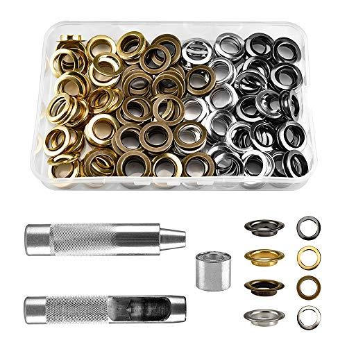 Kit de herramientas Grommet de 14 mm, ojales, arandelas, alicates, juego de 120 herramientas de ajuste y 120 ojales de Grommet con caja de almacenamiento
