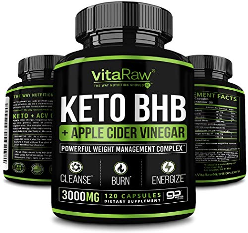 Green Tea Pills + Organic Vinegar Capsules of Apple Cidre [Strong diet pills of 3000MG] Powerful. ACV | Keto Ketones Cleanse that work Fast for women and men from VitaRaw Exogenous ketone supplement + ACV Ketones