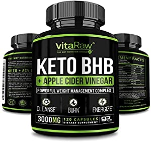Keto Pills with Green Tea + Organic Apple Cider Vinegar Capsules [ Powerful 3000MG Diet Pills ] Exogenous Ketones Supplement + ACV | Keto BHB Ketones Detox Cleanse That Work Fast for Women and Men from VitaRaw