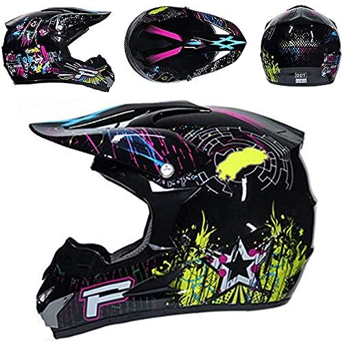 Casco de motocross para niños y adultos, casco de protección para motocicletas todoterreno para niños con gafas, guantes, máscara, cascos de protección de cara completa para scooter MTB unisex