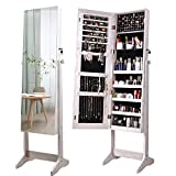 ORAF Jewelry Organizer, Jewelry Armoire Cabinet Standing Jewelry box with Full body Mirror and Large Storage Lockable Wooden Cabinet (Regular, White)