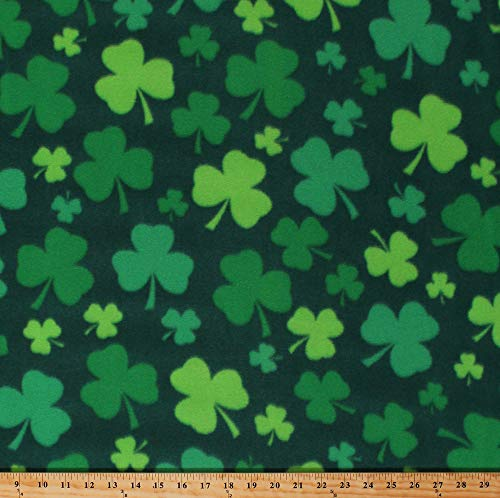 Fleece (not for masks) Shamrocks Lucky Clovers Four-Leaf Clovers Saint Patrick's Day Green Fleece Fabric Print by The Yard (A335.20)