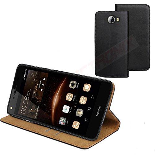 MOELECTRONIX ECHT Leder Buch Klapp Tasche Schutz Hülle Flip Case Etui CUN-L21 passend für Huawei Y5 II Y5 2 Dual SIM