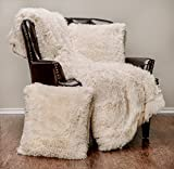 Chanasya 3-Piece Shaggy Throw Blanket Pillow Cover Set - Chic Fuzzy Faux Fur Sherpa Throw (50x65 Inches) 2 Throw Pillow Covers (18x18 Inches) for Bed Couch - Cream